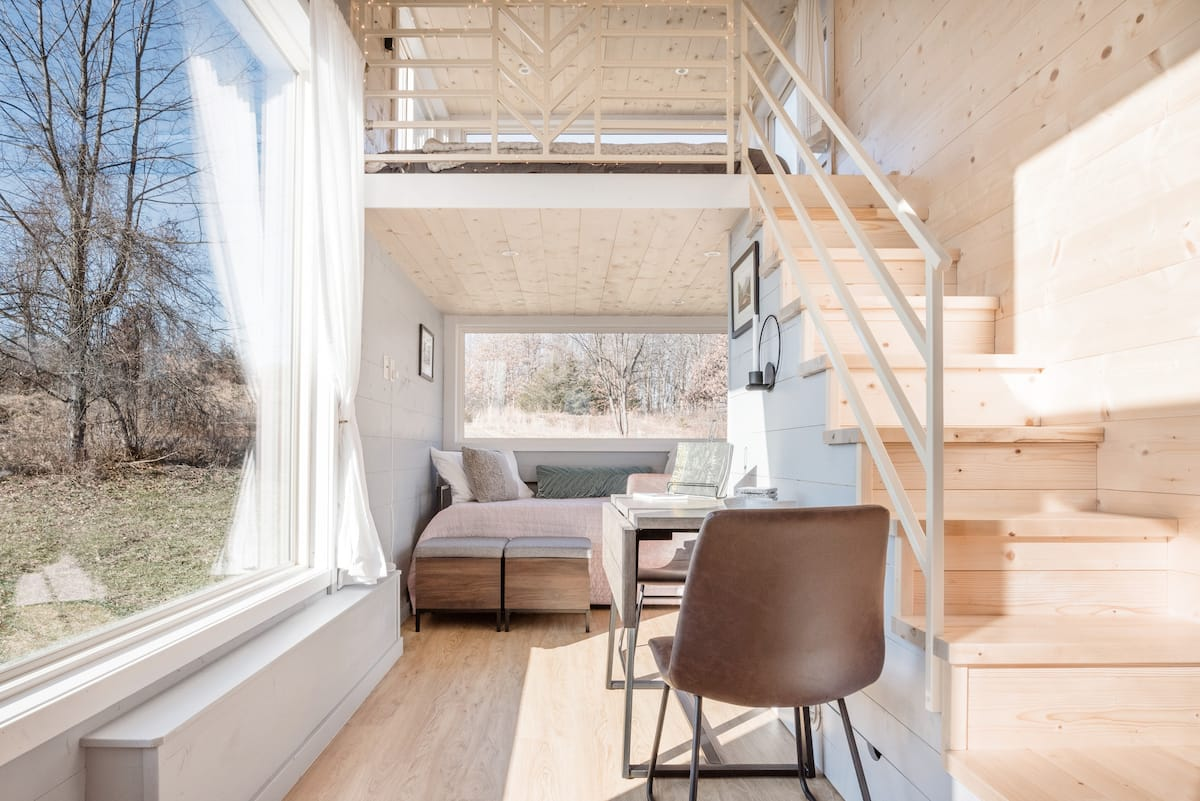 Orchard Views from a Light-Filled Tiny Home with a Fire Pit