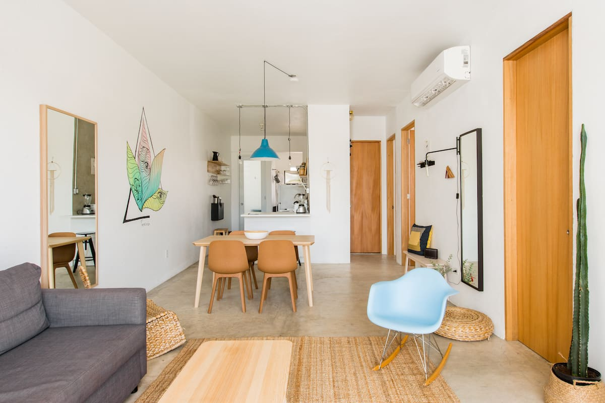 Colorful Artistic Apartment with Balcony, Close to the Beach