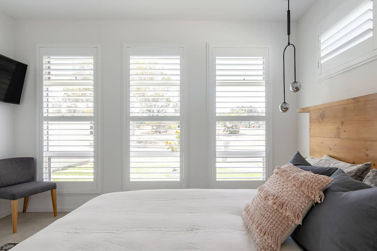 Open the Plantation Shutters in an Airy Architectural Home