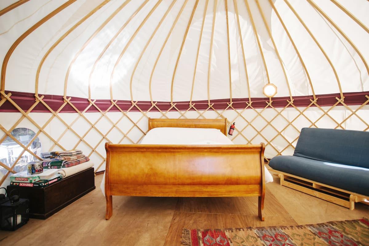 Elegant Hilltop Yurt on Organic Dairy Farm in the Kent Downs