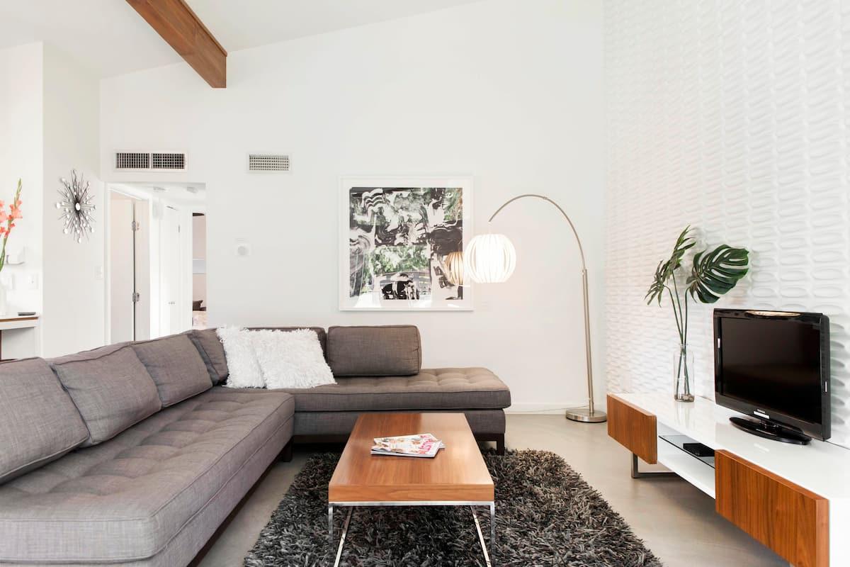 Clean, Stylish, Mid-Century Getaway with Patio & Yard