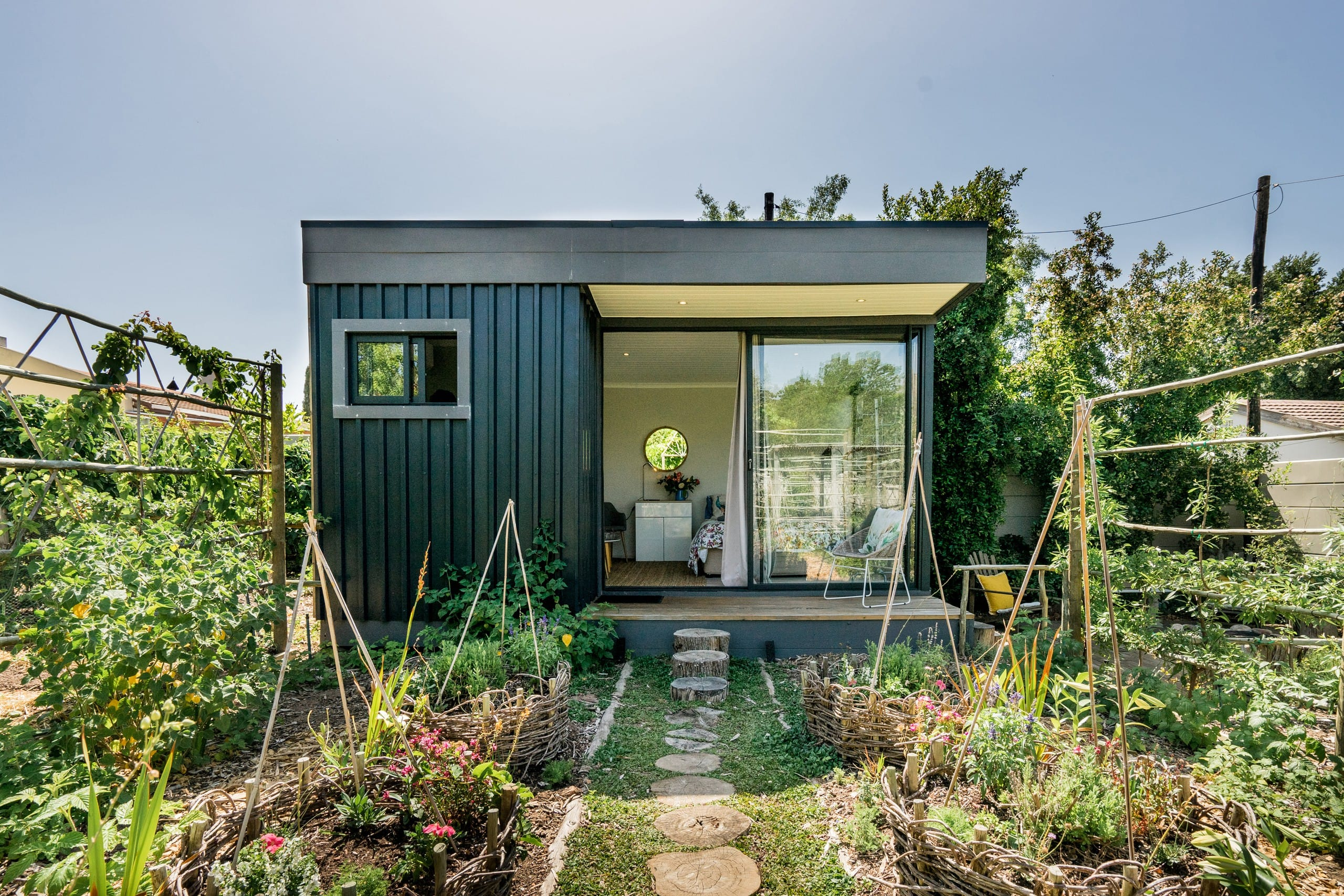 Funky Cabin Set Amidst an Organic Herb and Veg Garden - Tiny