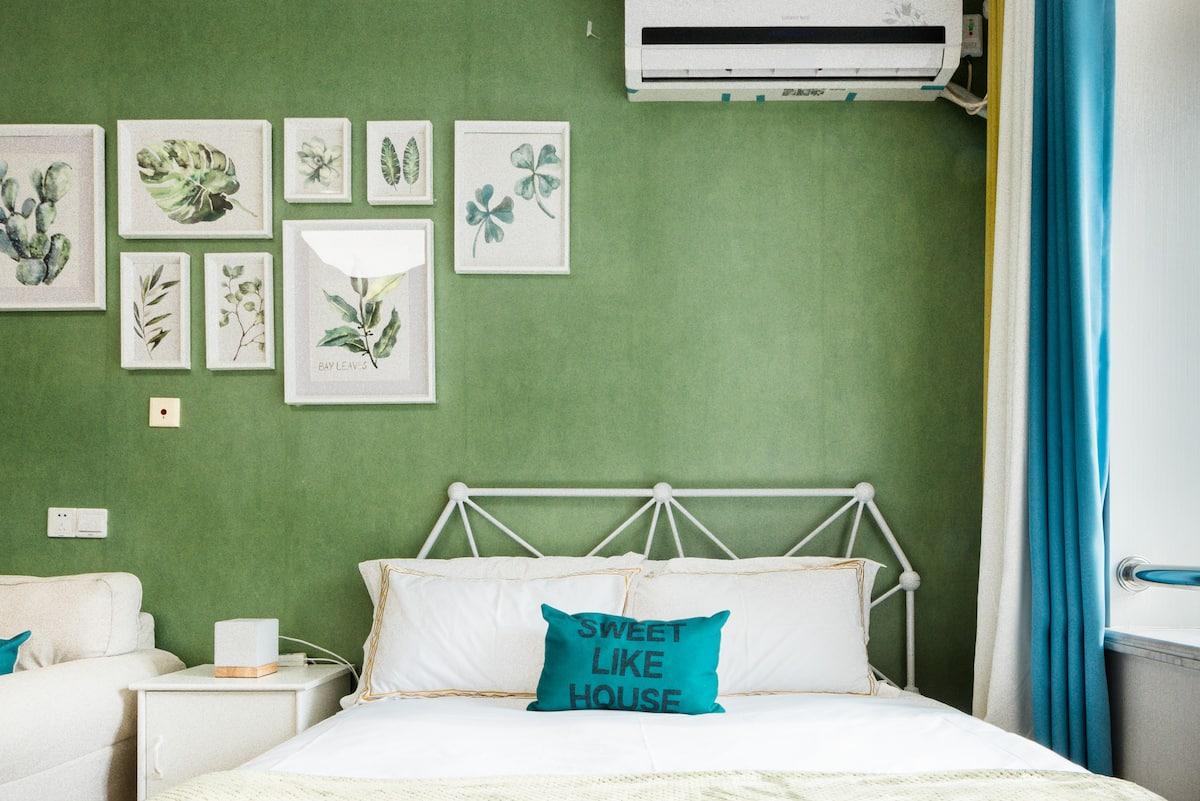 有简约 绿色系 功能齐全 高楼层的绿色舒适7/13双轨交阳光暖窝公寓