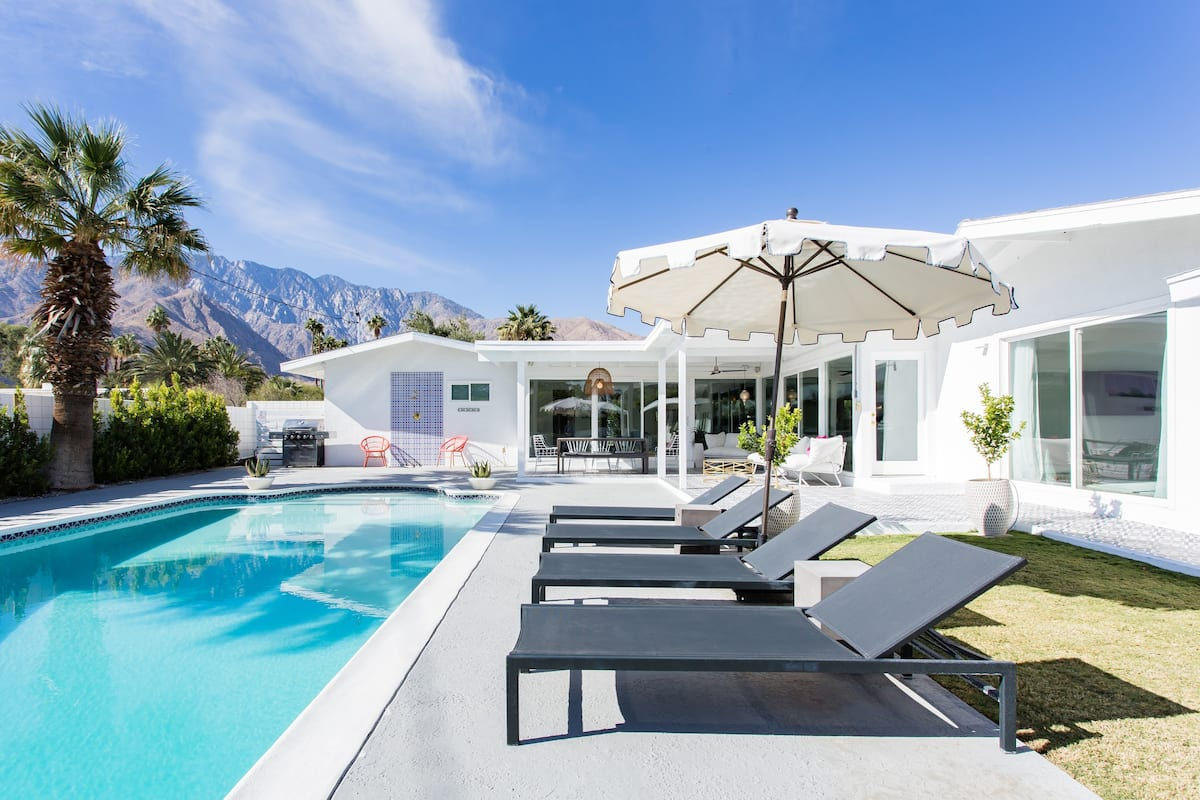 Vibrant Mid-Century Home with a Pool and Mountain Views