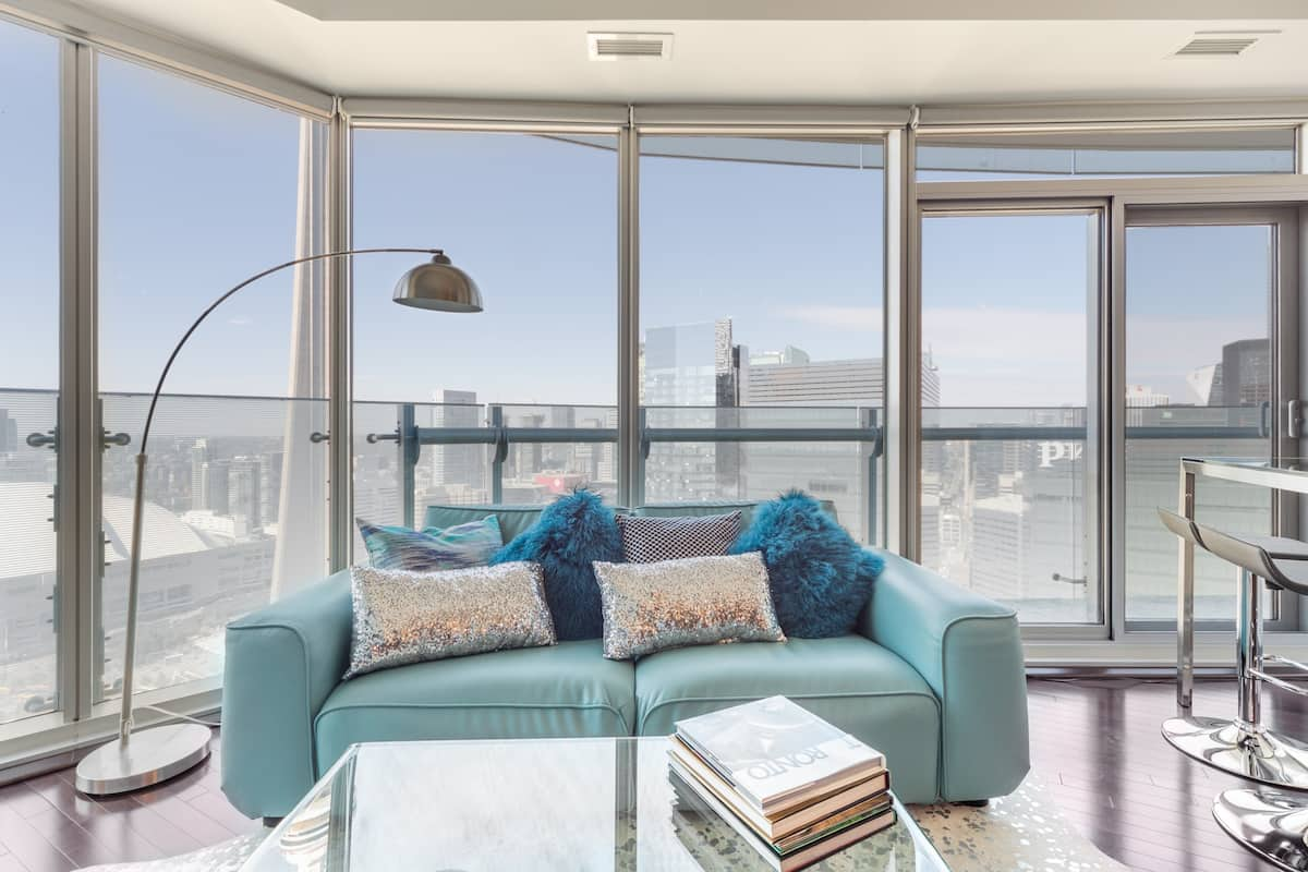 Sweeping City Views from the Balcony of this Chic Condo