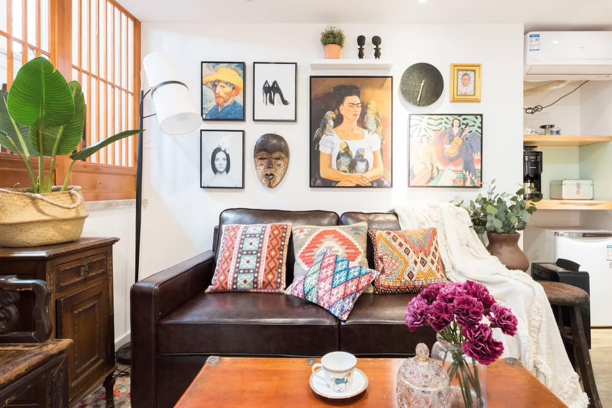 入住南京西路附近的设计师倾情打造波西米亚风情美宿 联排别墅,喝茶品酒静坐美食