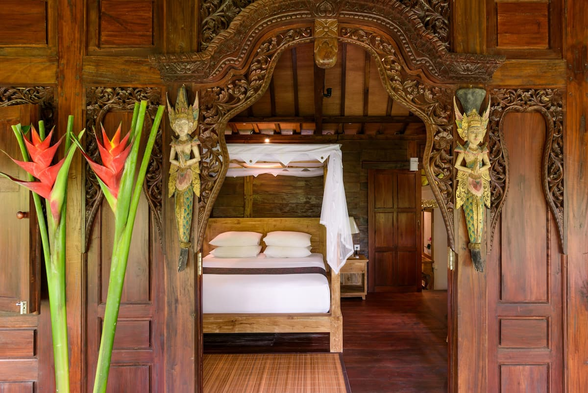 Authentic Balinese Wooden Hut On Lush Tropical Grounds