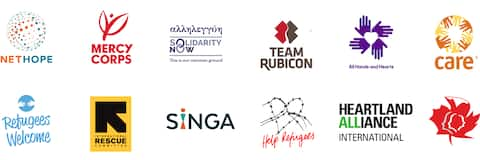 "Partner des ""Open Homes""-Programms, darunter Mercy Corps, Team Rubicon, SIGNA, Refugees Welcome und andere."
