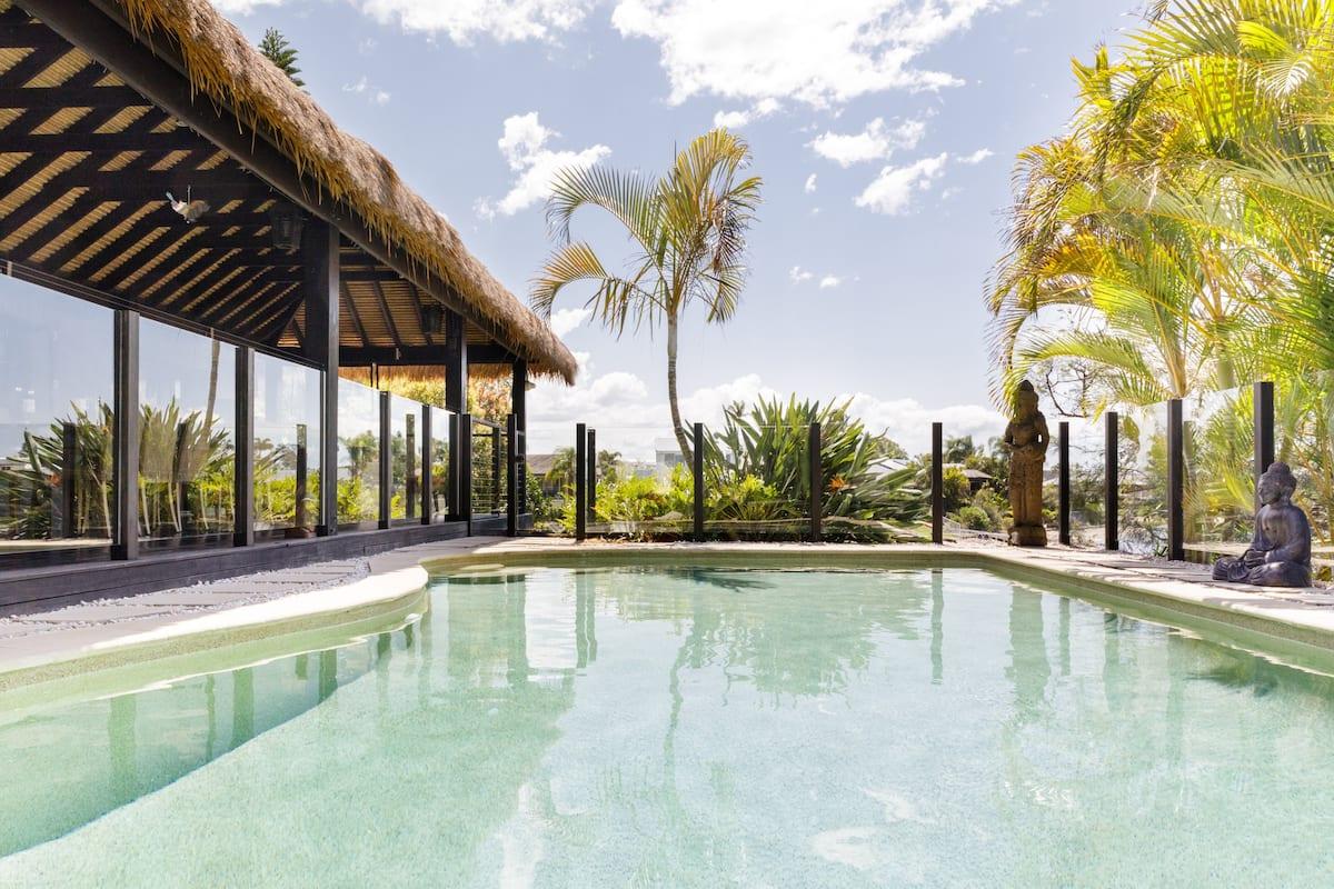 Peaceful Bali Retreat on Water Saltwater Pool near Surfers