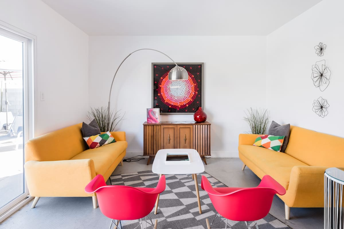 Colorful Retro-Chic Mid-Century House with a Pool!