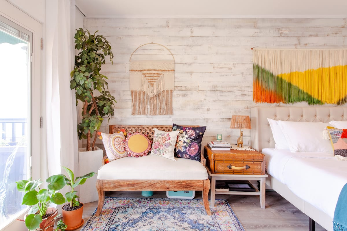 Watch the Sunset at a Boho-Chic Studio with Private Terrace