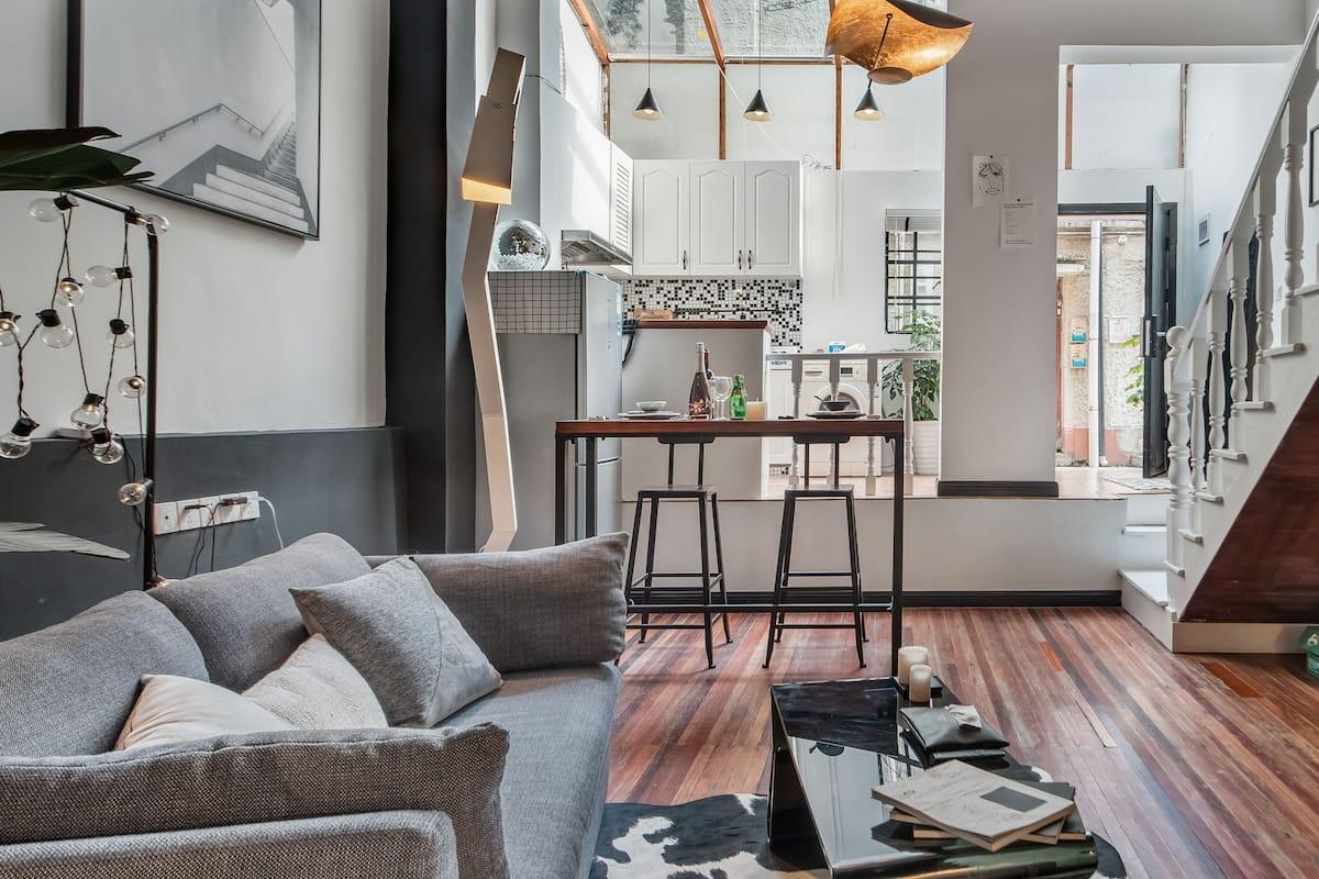 黑尾公寓 设计师之家 新天地淮海路田子坊复兴公园 入住黑白休闲复式公寓去感受繁华都市中的静谧