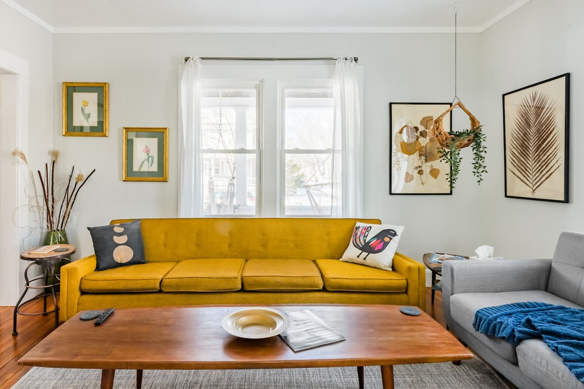 Unwind on the '60s Danish Sofa at an Arts District Craftsman
