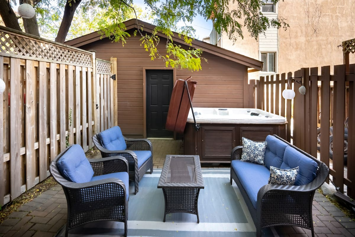 Downtown Getaway with a Private Backyard Hot Tub and BBQ