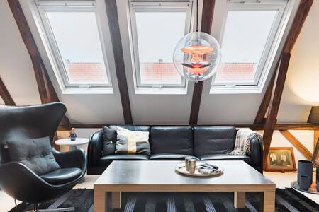 Trendy penthouse style, big roof terrace and bikes