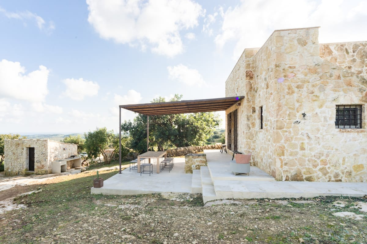 Artfully Renovated Stone House Overlooking the City of Noto