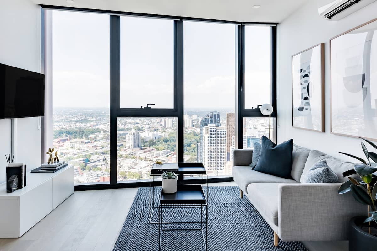 Sleek CBD Apartment with Skyline Views