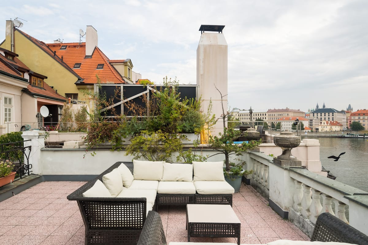 Sophisticated Terrace Apartment with Charles Bridge Views