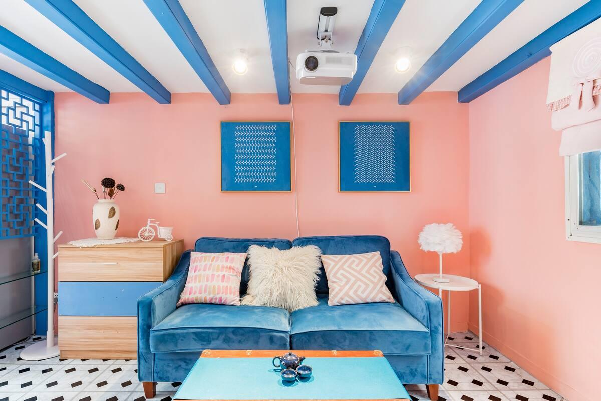 『粉蓝色复式洋房』地铁零距离、小米投影、近田子坊、静安寺、上海展览馆、南京东路、外滩