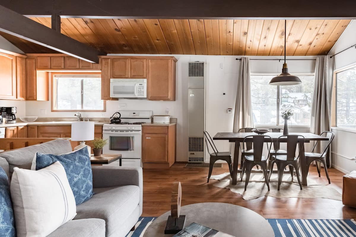 Walk to Big Bear Village from a Stylish, Wooded Chalet