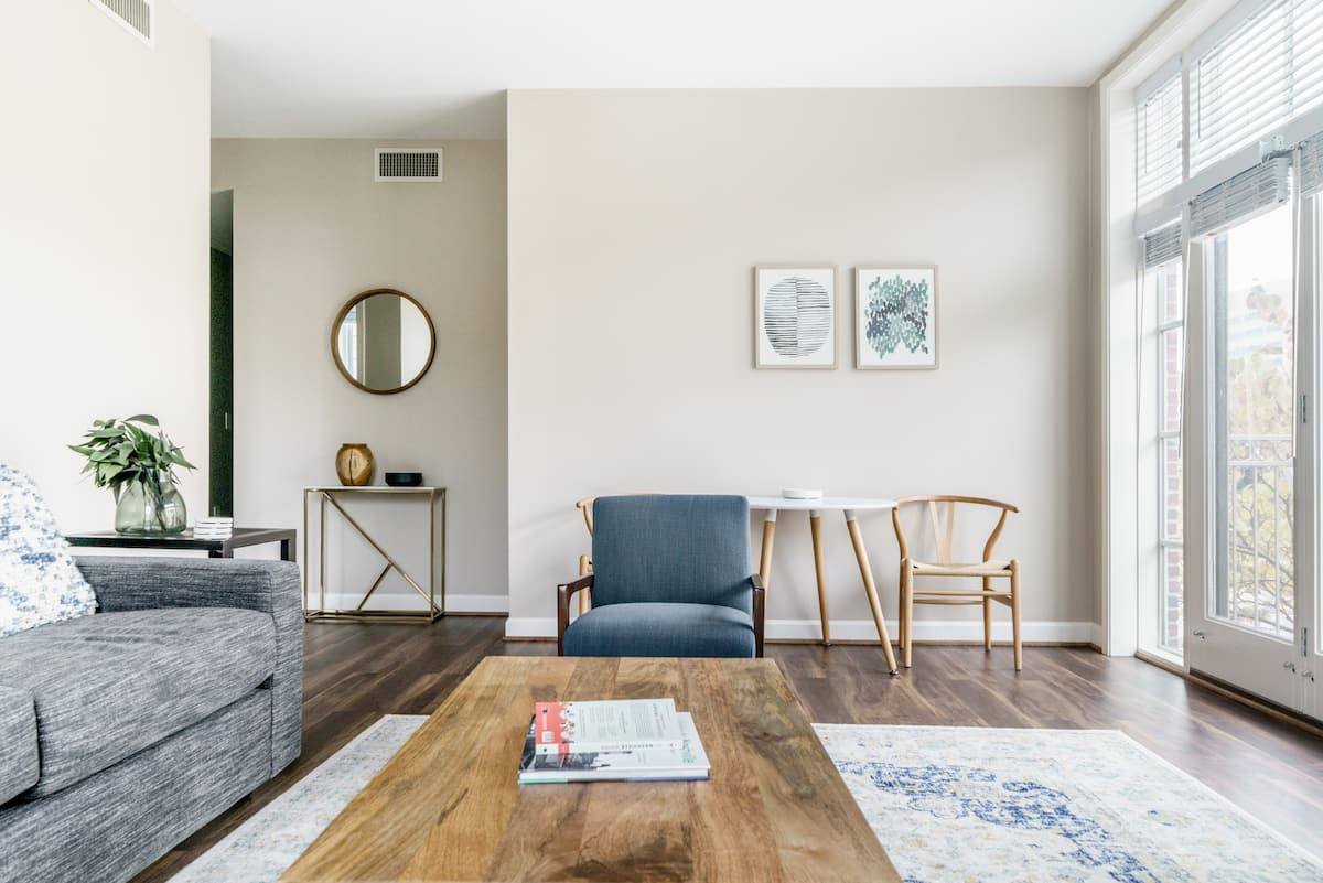 Soft Blues and Grays at a Calm, Contemporary City Haven