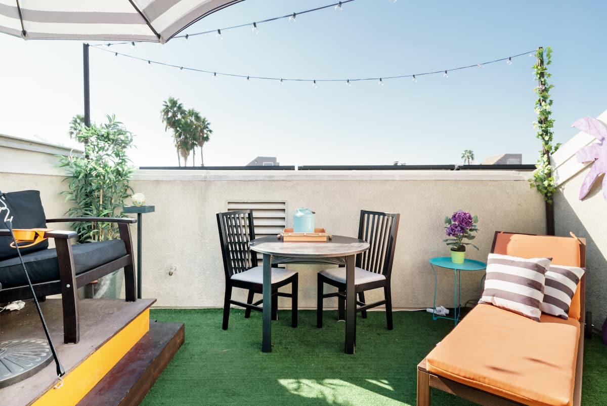 Grill on the Rooftop Terrace at a Four-story Hollywood Home