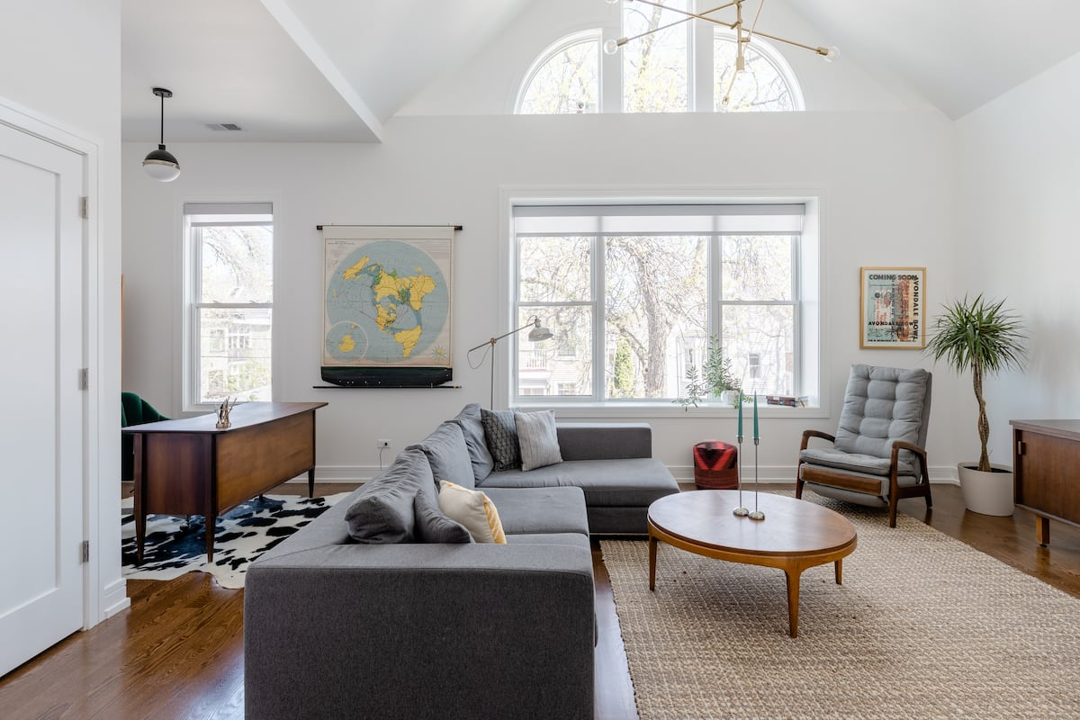 Vaulted Logan Square Pad with Mid-Century Vibes