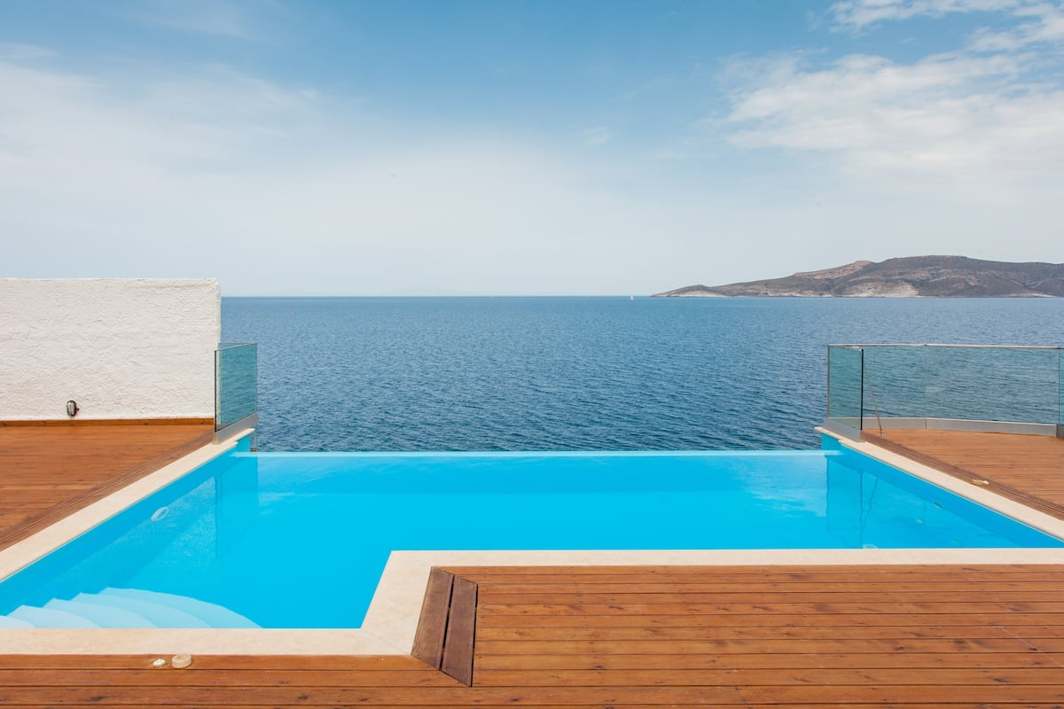Nautical Aegean Beach Villa with Private Infinity Pool