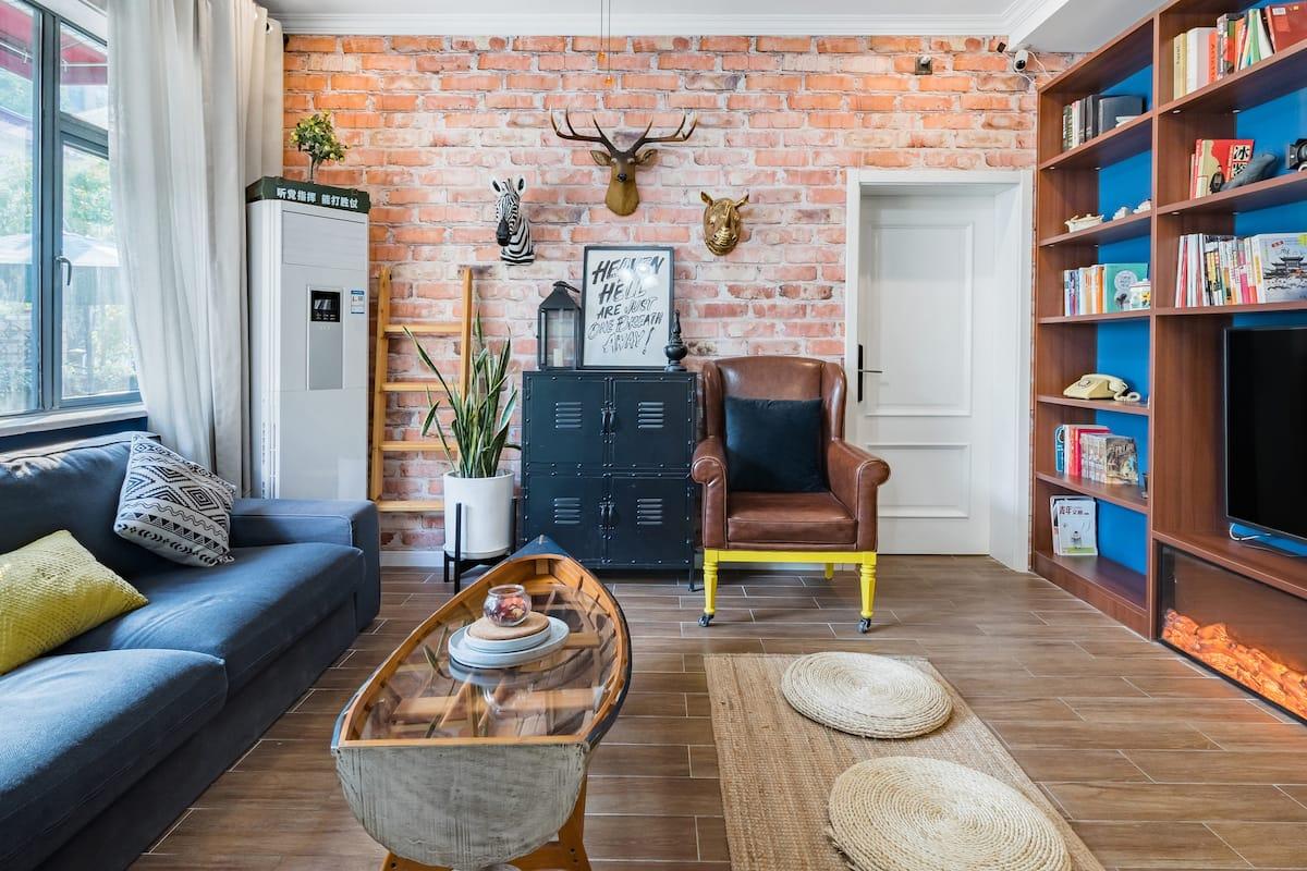 『蓝•调』Airbnb精选房★八卧独栋别墅 家庭聚会轰趴 私家庭院 5分钟到南京南站 毗邻夫子庙