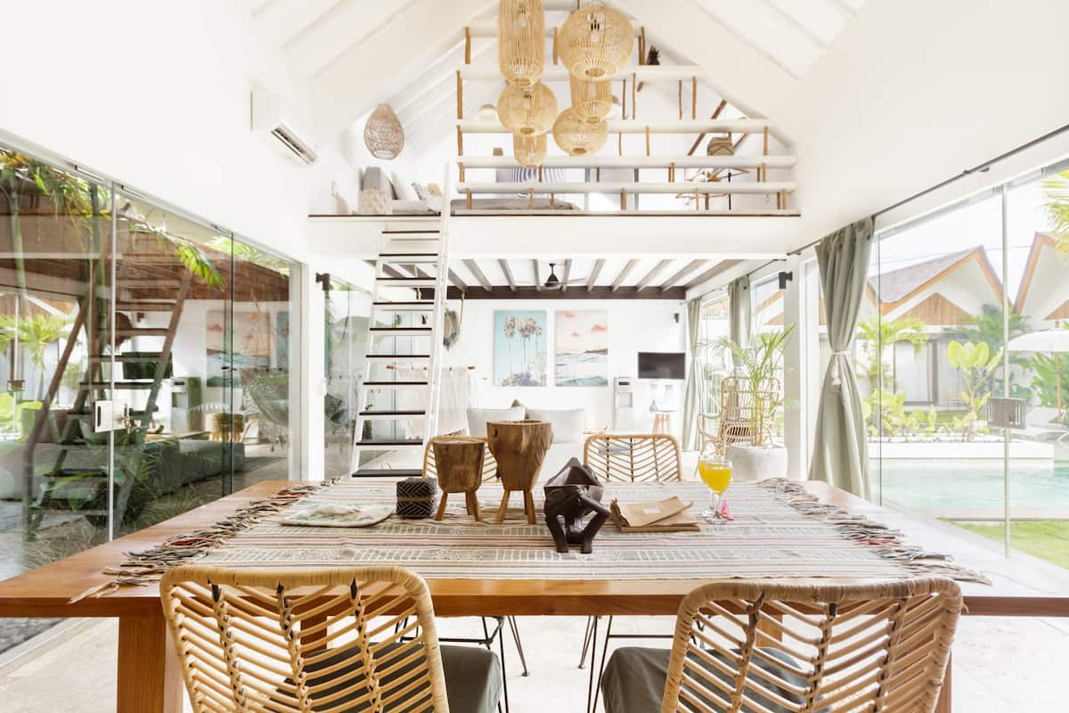 Swing in an Indoor Hammock at a Romantic Villa Complex