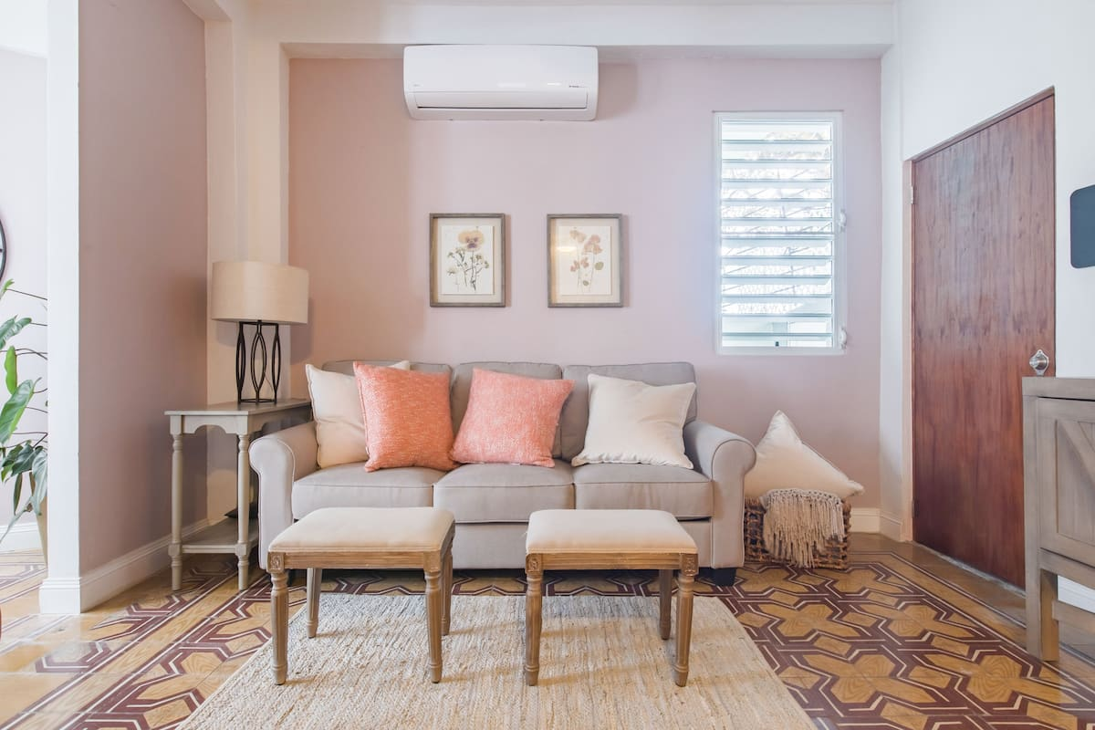 Freshen up in the Pastel Pink Bathroom in Historic Miramar