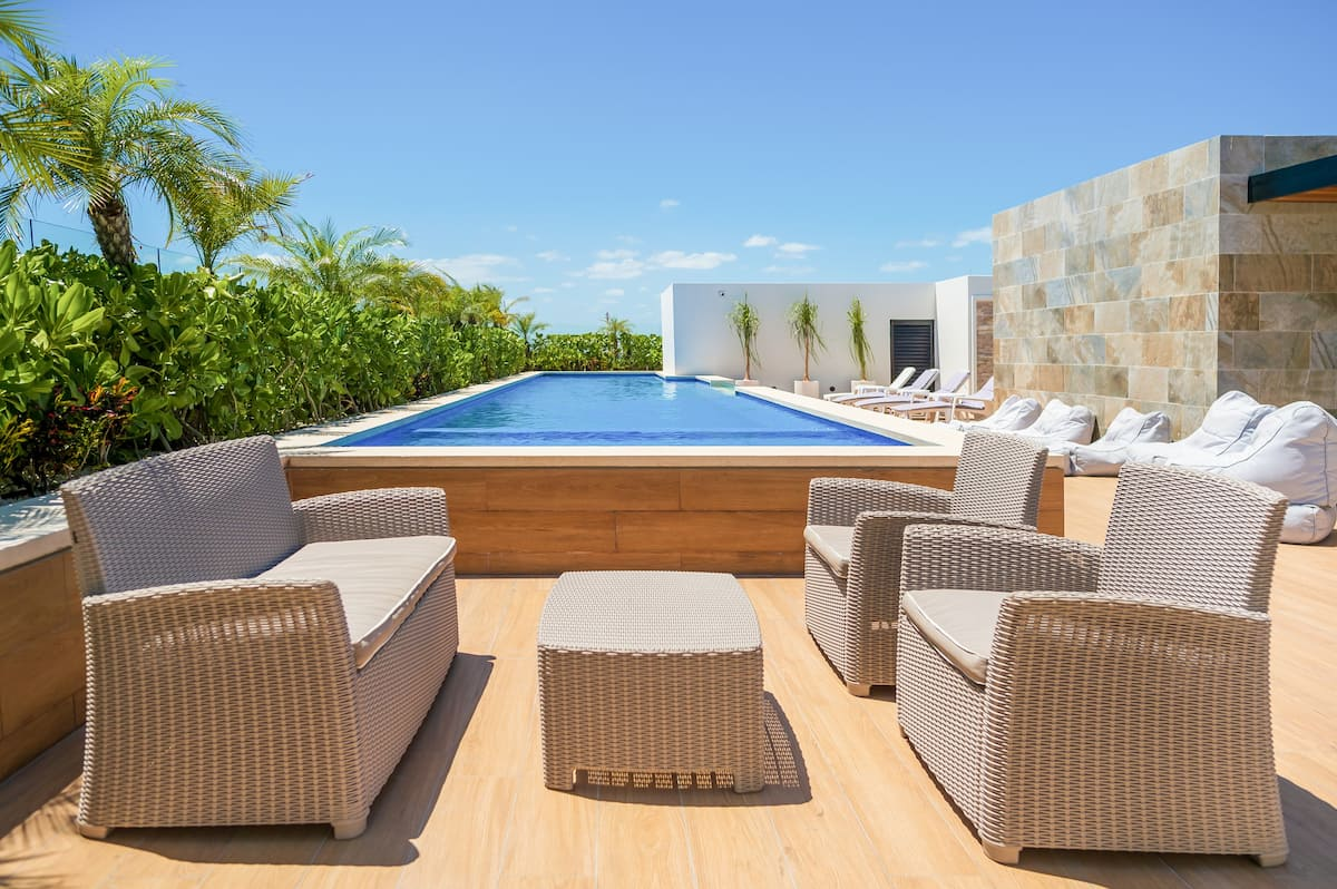 Relaxing Studio with a Rooftop Lap Pool in Mexico, P Carmen.