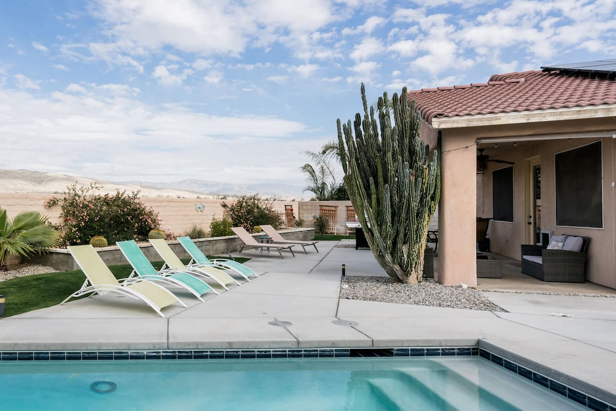 S'mores Around the Poolside Fire Pit at Your Desert Haven