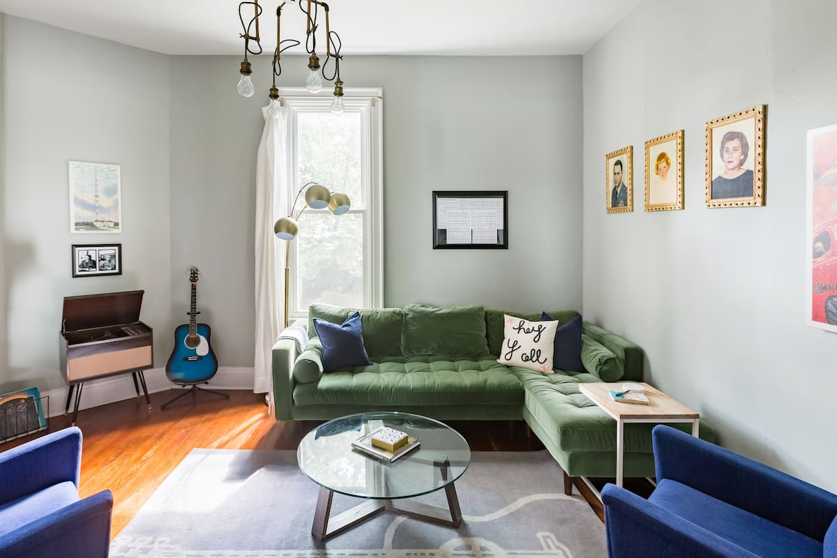 Colorful, Artsy Vibe 1930s Home with Two Bikes, Dreamy Beds.