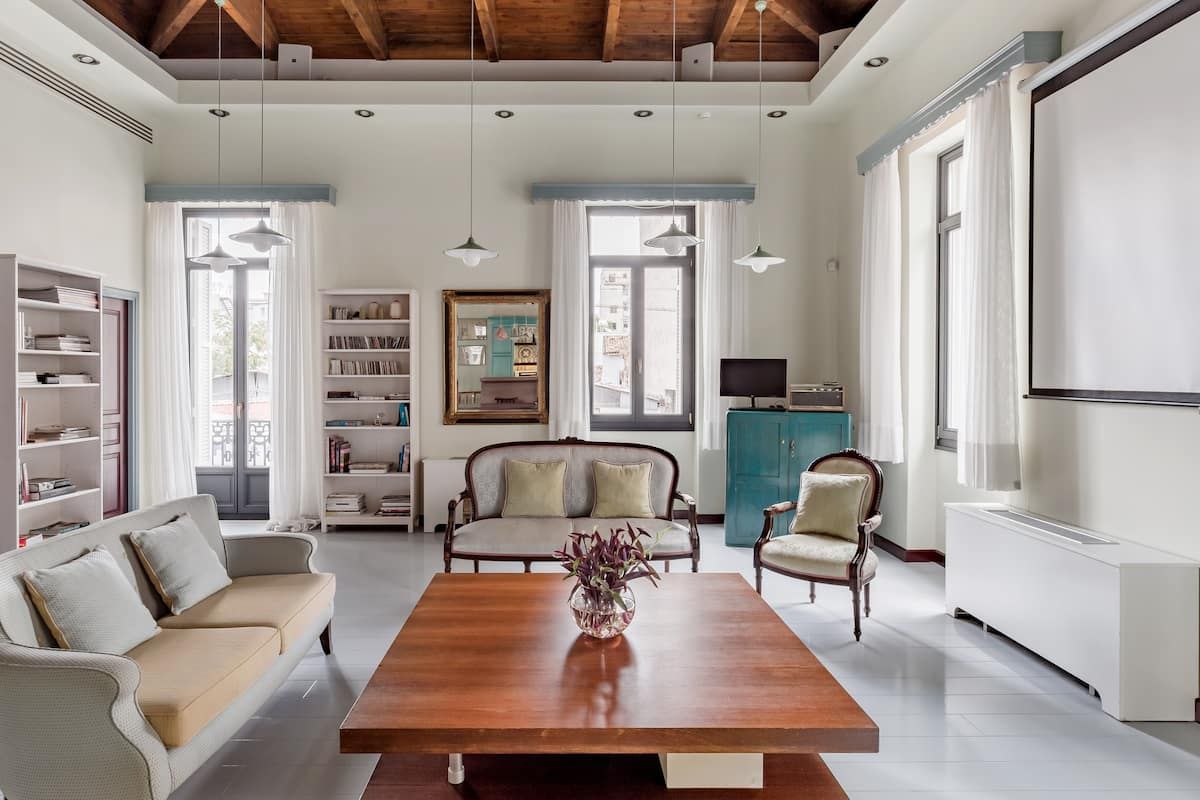 Airy, Eclectic Penthouse with a Roof Terrace in Kerameikos