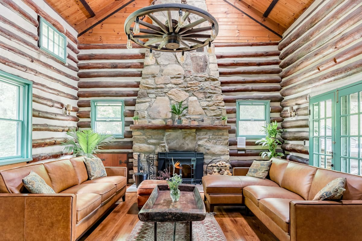 Historic Stone and Timber Lodge with View Near Asheville