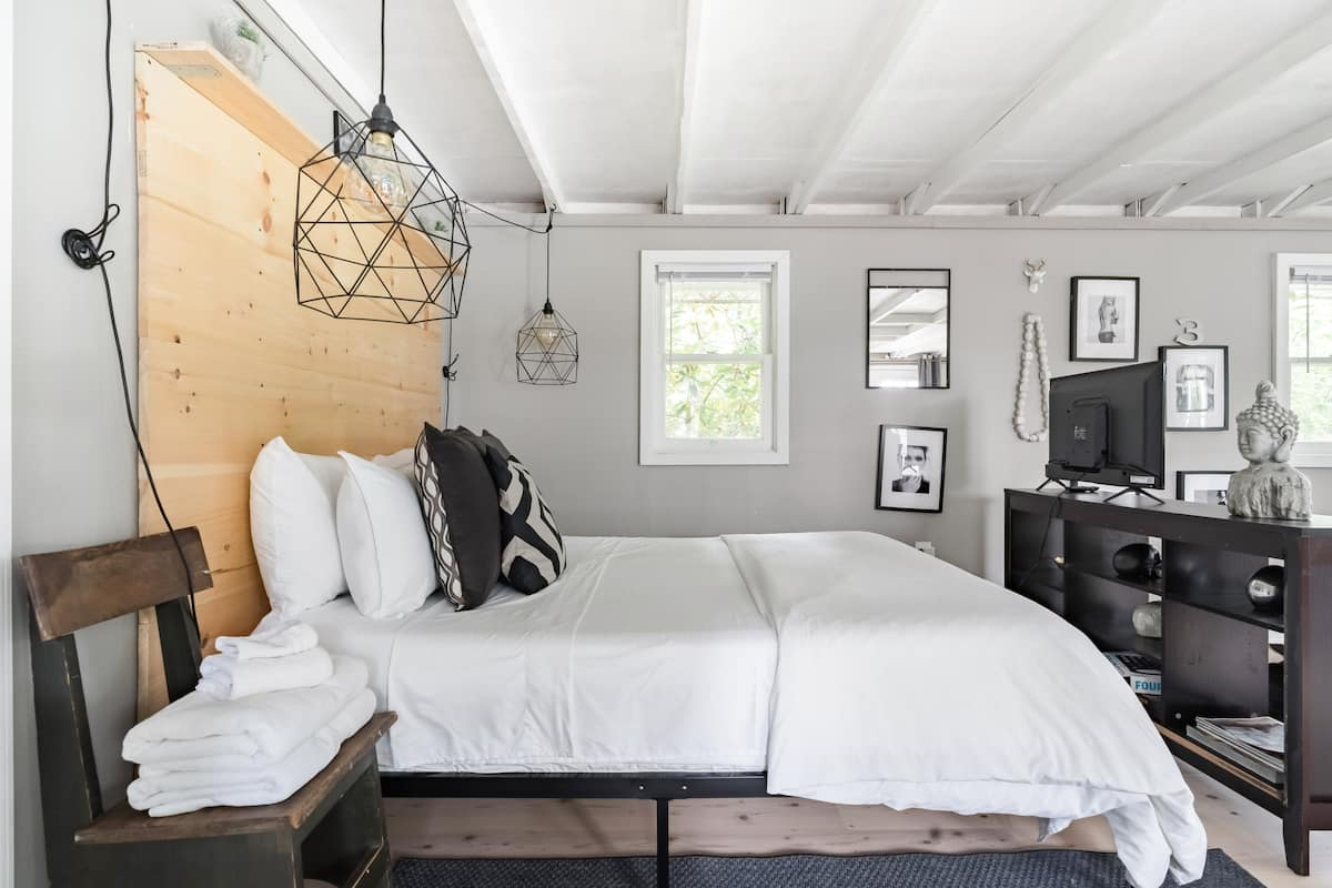 Get Cozy at Our Tiny, Bohemian Nest with Industrial Touches