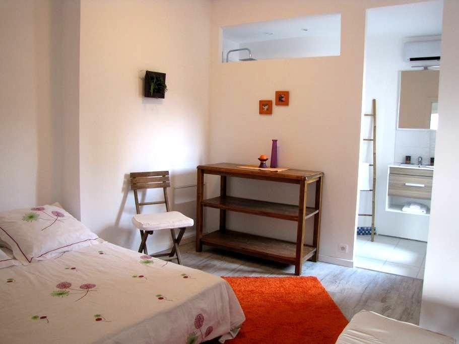 Chambre, salle de bain et cuisine privée - Aniane