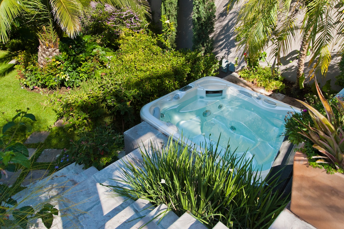 Beautiful private garden with hot tub.