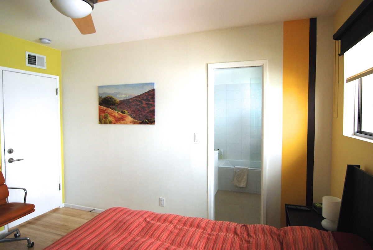 Bedroom and private bathroom are directly connected.