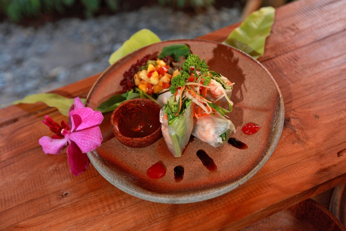 Just a sample of our freshly made cuisine which is a fusion of Balinese, Thai and Japanese. Served on woodfired plate.