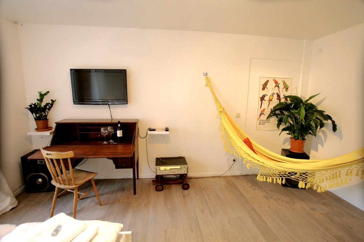 Writing desk, tv and Hammock for working and relaxing