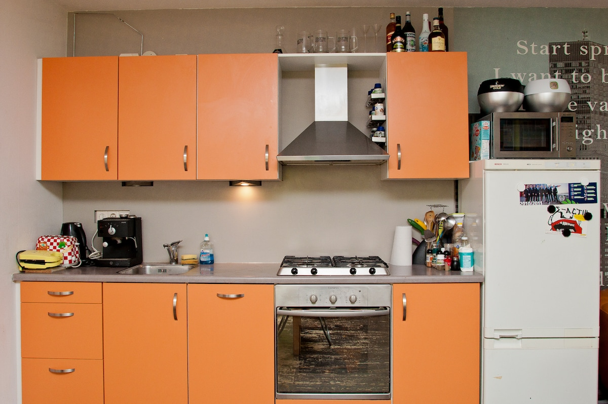 The kitchen. You are allowed to use it for cooking during your stay