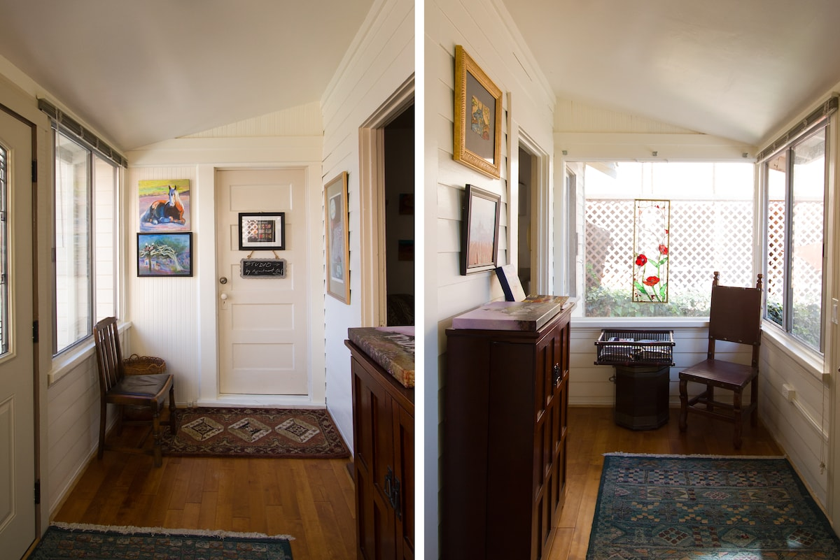 2 views of the sunroom...on a nice day open the windows and bring the outside in. Art Studio behind the door by invitation