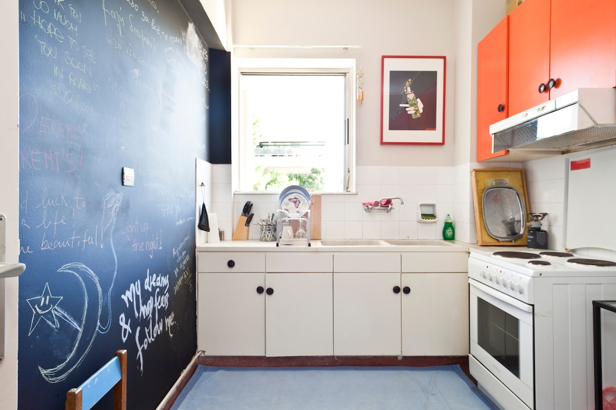 The kitchen has everything you might need, if not make a note on my wall!