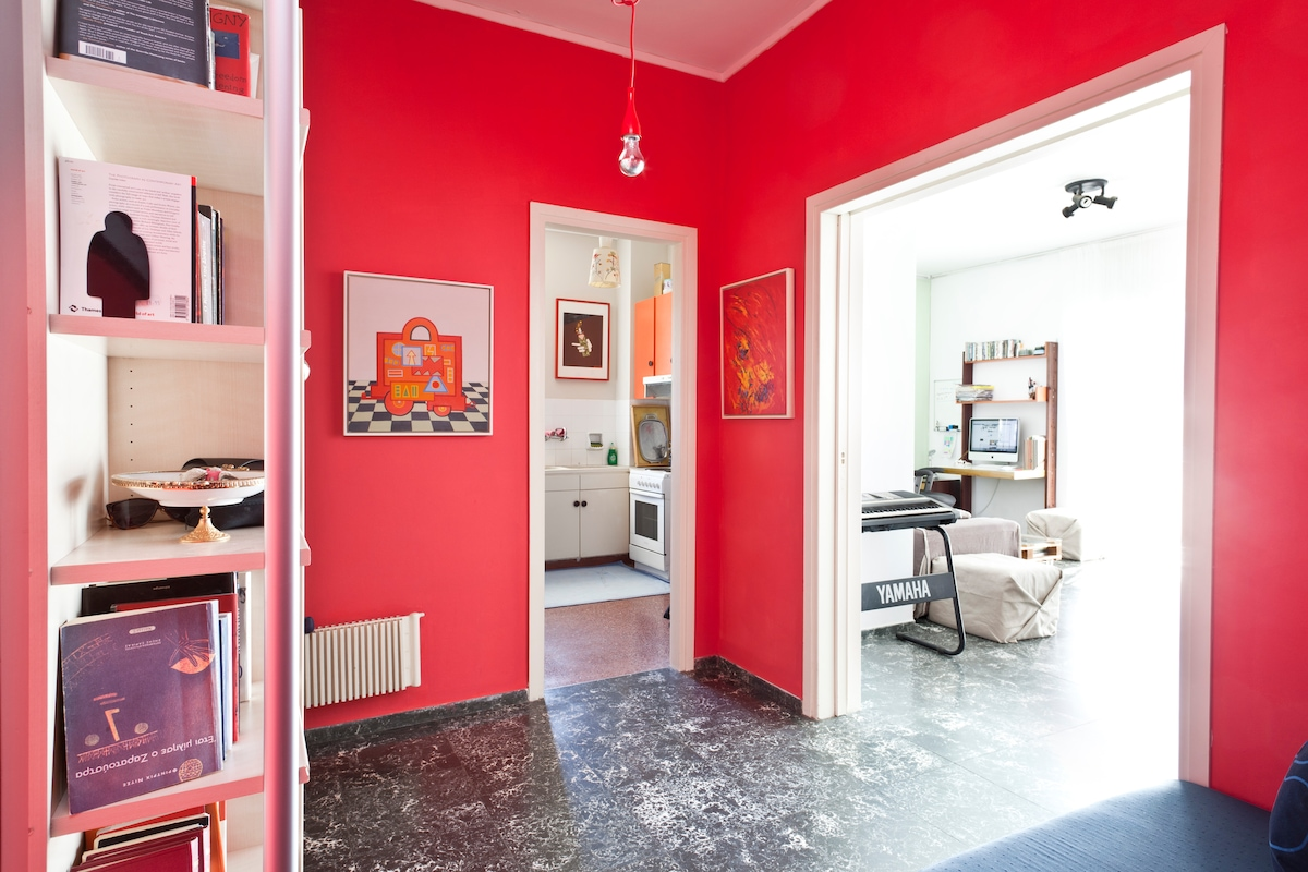 Entrance area: Books and Red Contemporary Art
