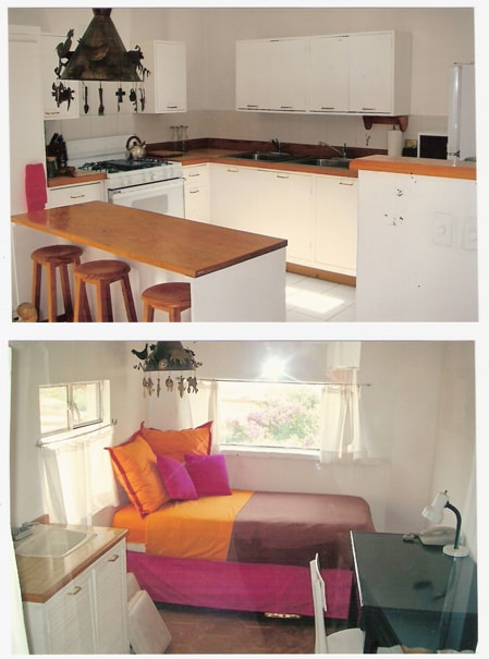 Kitchen and moveable counter and prep area. Bedroom with single bed.