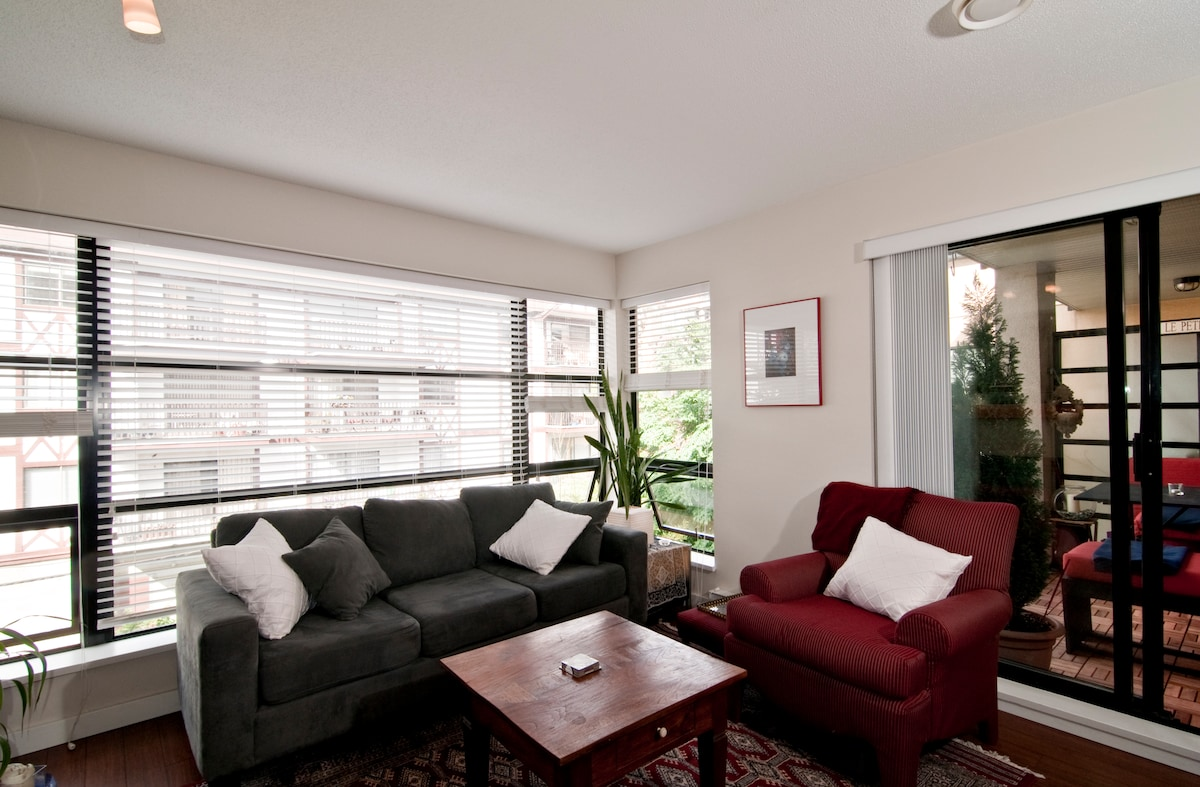 Our living room is not only roomy but has lots of natural light and lots of windows for fresh air.