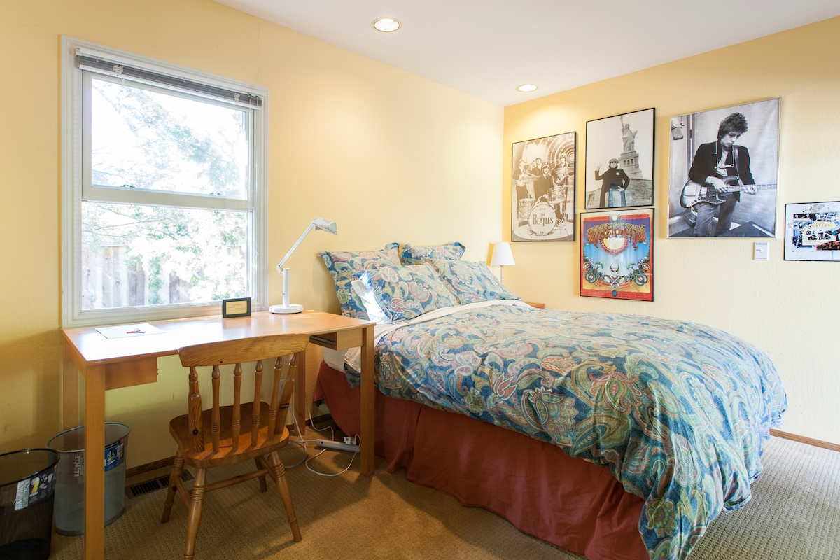 Quality bed linens, and personally chosen accessories and prints.
