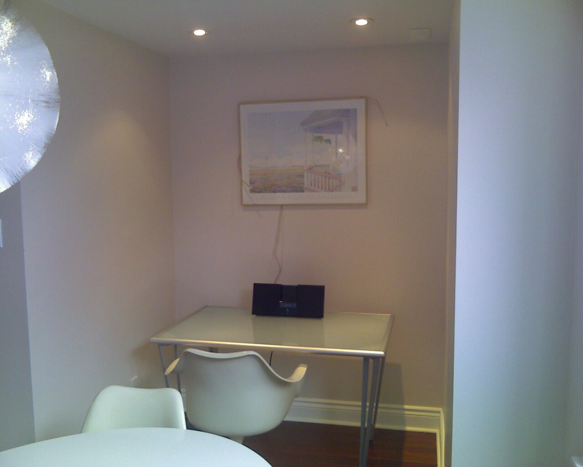 Separate workspace with ipod docking station.